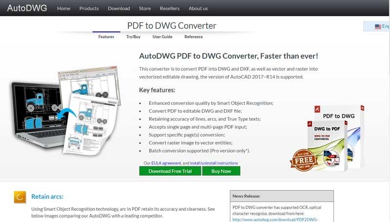 Giao diện trang web tải phần mềm chuyển PDF sang CAD của AutoDWG.