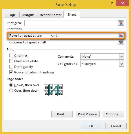 Cách lặp lại tiêu đề trong Excel khi in 5