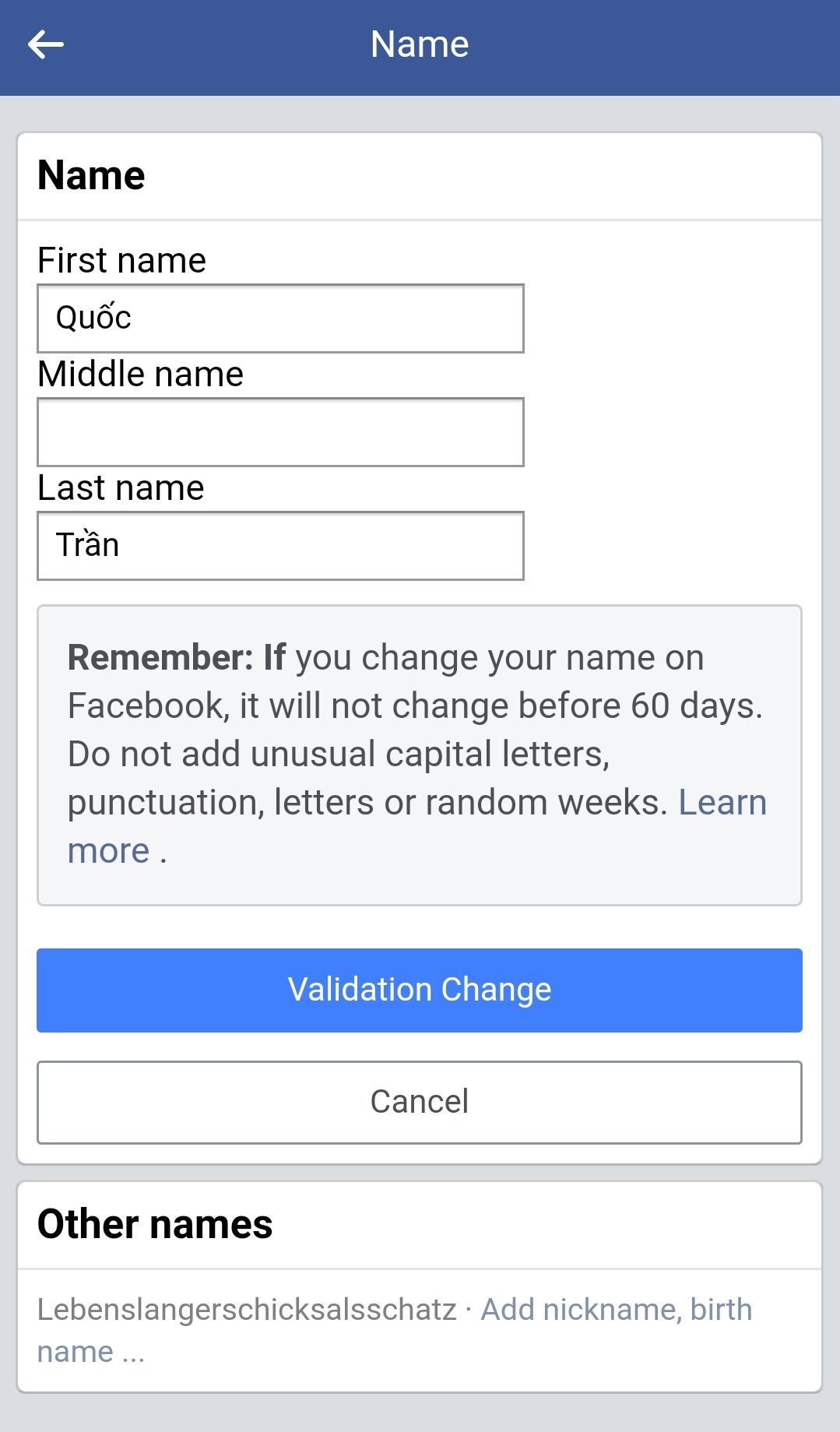 3 cách đổi tên Facebook thành 1 chữ đơn giản trong chớp mắt 20