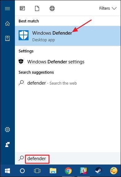 cach tat windows defender win 10 - search