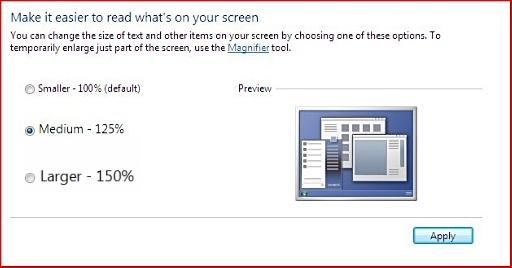 thay đổi cỡ chữ trong Windows 7