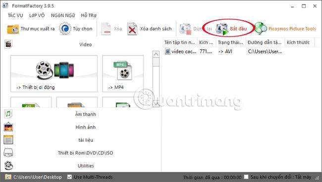giảm dung lượng video bằng format factory