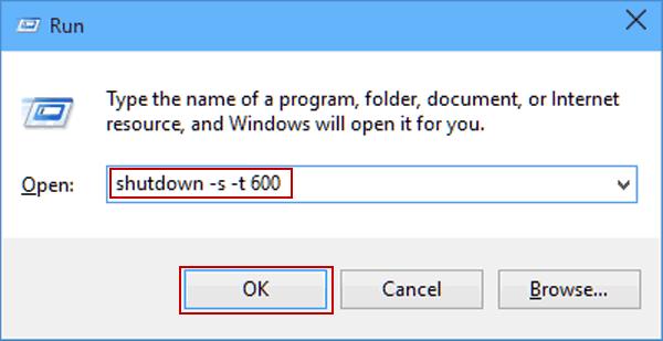 hẹn giờ tắt máy Windows 10