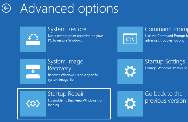 sửa lỗi máy tính không khởi động được bằng startup repair từ trình menu khởi động