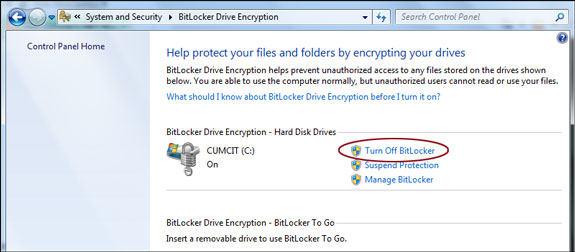 cách tắt BitLocker win 7