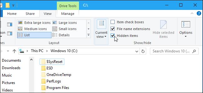 cách hiện file ẩn trên Windows