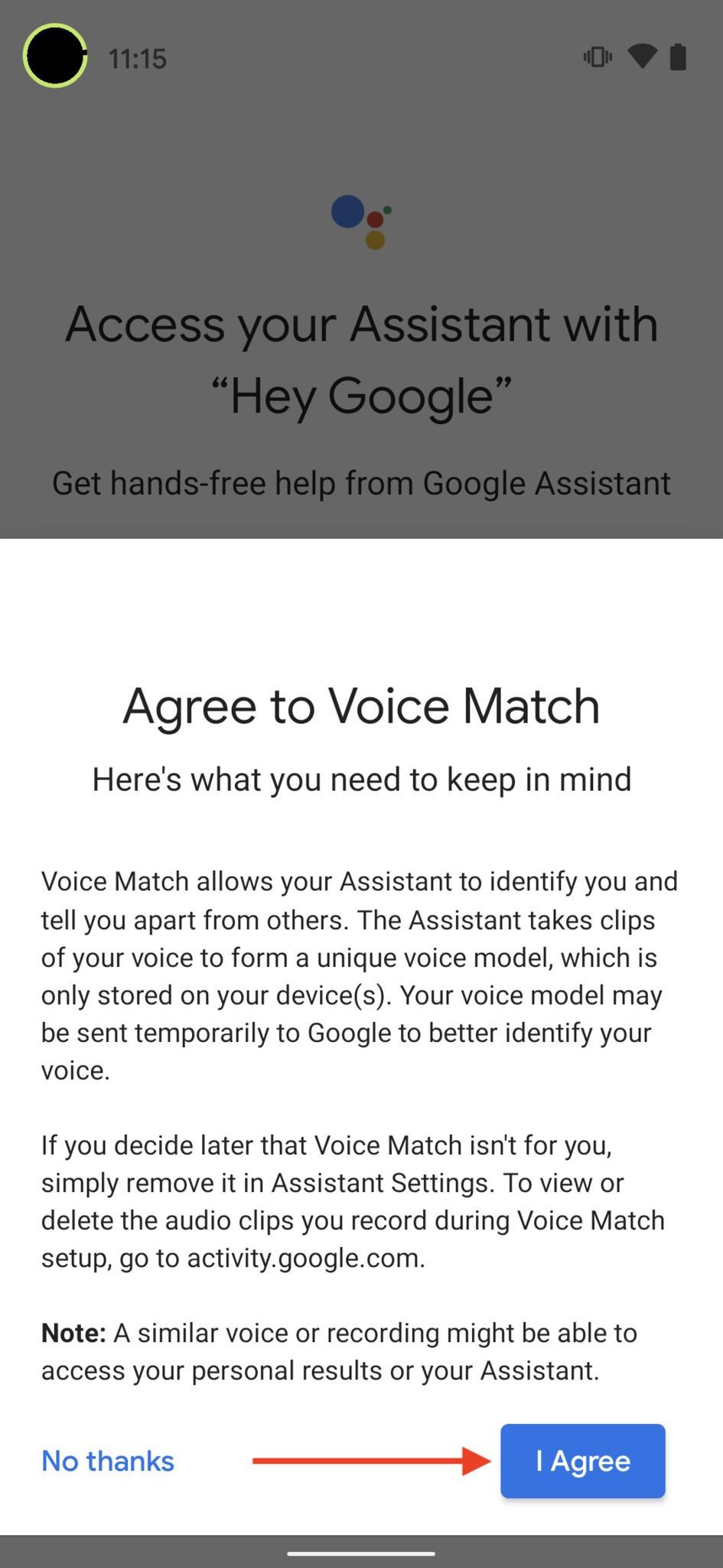 Bật tính năng Voice Match của Google Assistant