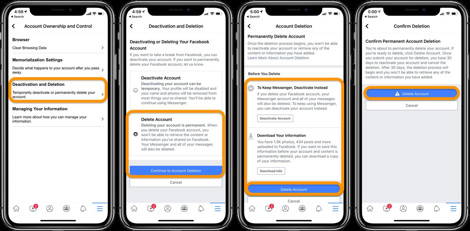 Tổng hợp cách xóa tài khoản Facebook trên iPhone 8