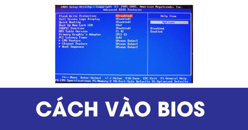 Cách vào BIOS
