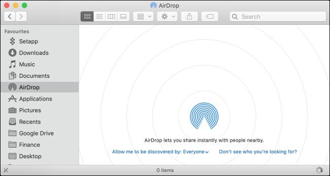 AirDrop khong nhan tren Mac