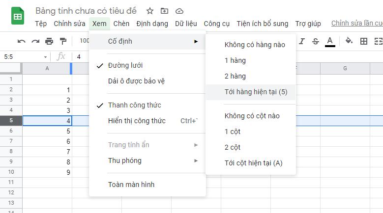 Cố định hàng trong Google Sheet 03