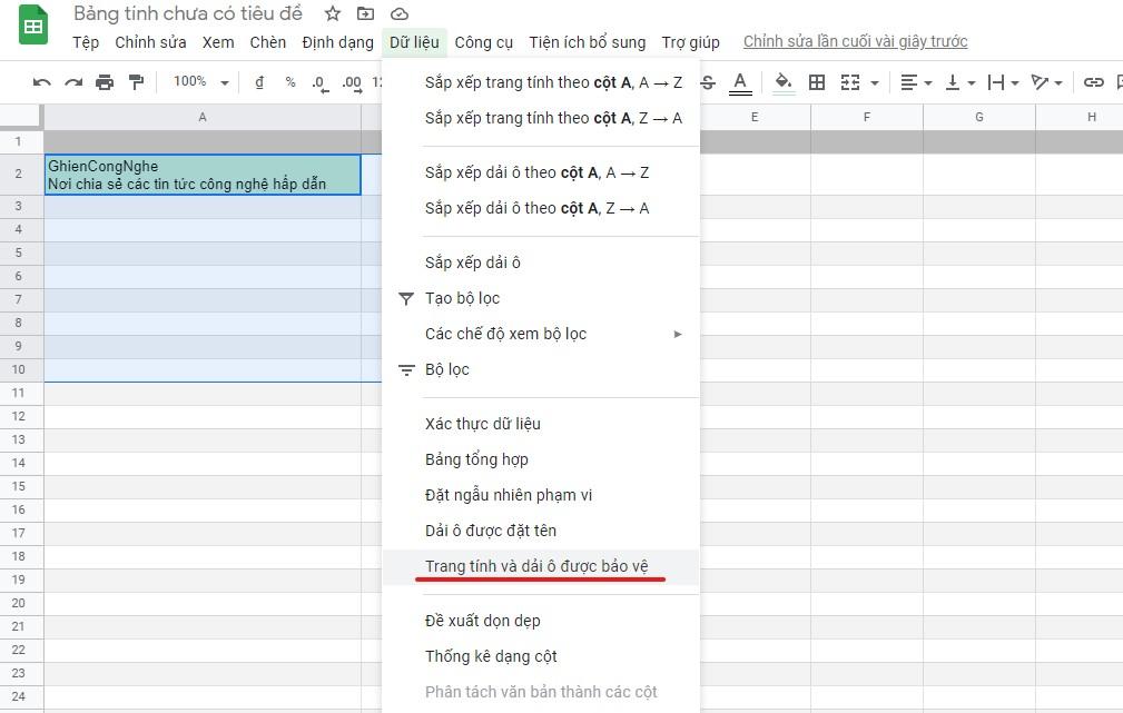 an cong thuc trong google sheet