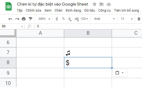 cách chèn ký tự đặc biệt trong Google Sheet 6