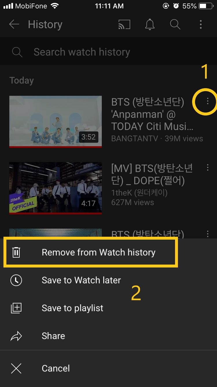 Cách xóa lịch sử tìm kiếm trên YouTube trên iPhone đơn giản