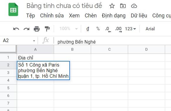 cach xuong dong trong google sheet 02