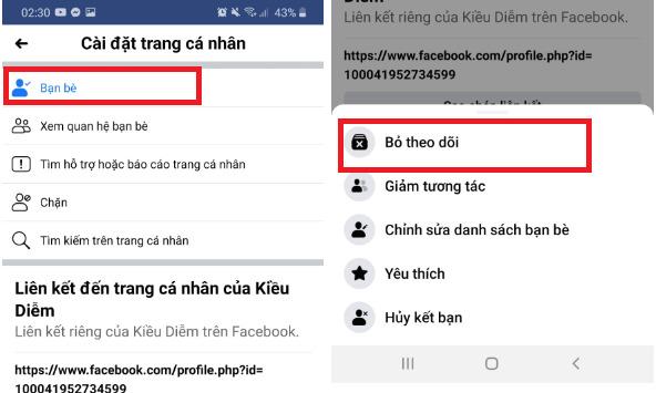 Hướng dẫn cách bỏ theo dõi trên Facebook bằng điện thoại