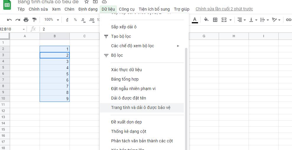 khoa o trong google sheet 02