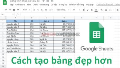 Cách tạo bảng trong Google Sheet trông đẹp mắt hơn 1