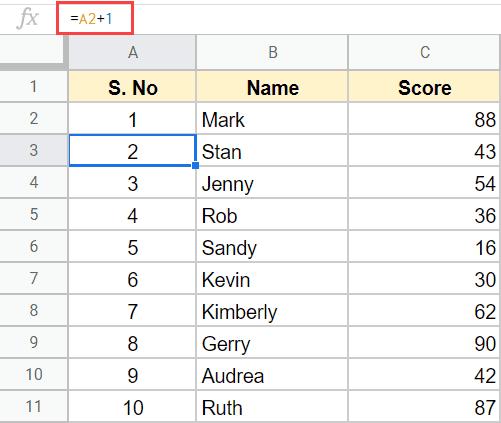 danh so thu tu trong Google Sheet 05