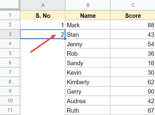 danh so thu tu trong Google Sheet
