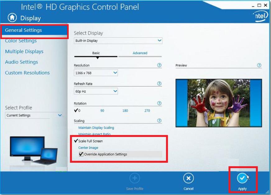 Chỉnh full màn hình Win 10 với chip Intel