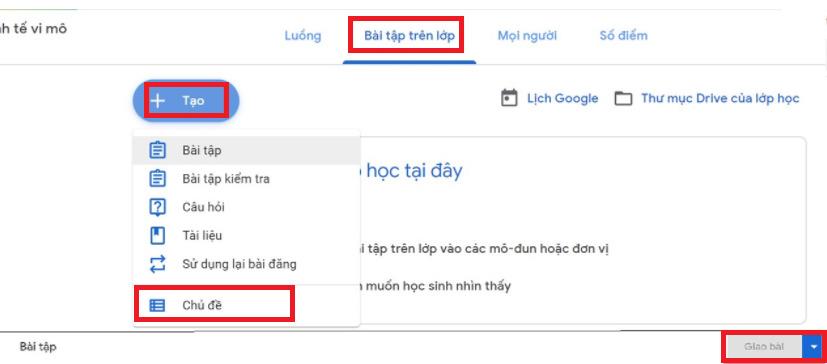 Thêm bài tập trong Google Classroom
