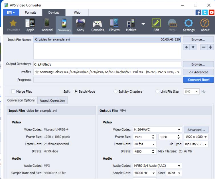 Phần mềm đổi đuôi video - AVS video converter