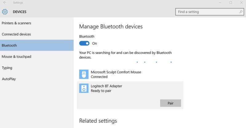kết nối Bluetooth Win10
