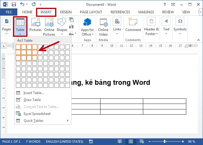 các cách tạo bảng trong Word