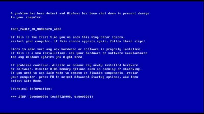Lỗi màn hình xanh win 7
