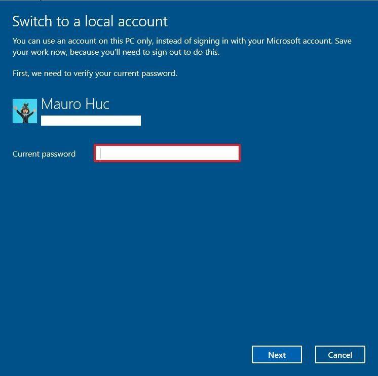 xóa tài khoản Microsoft trên Win 10