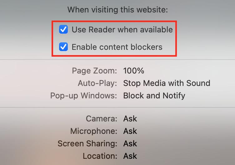 chặn quảng cáo trên Safari